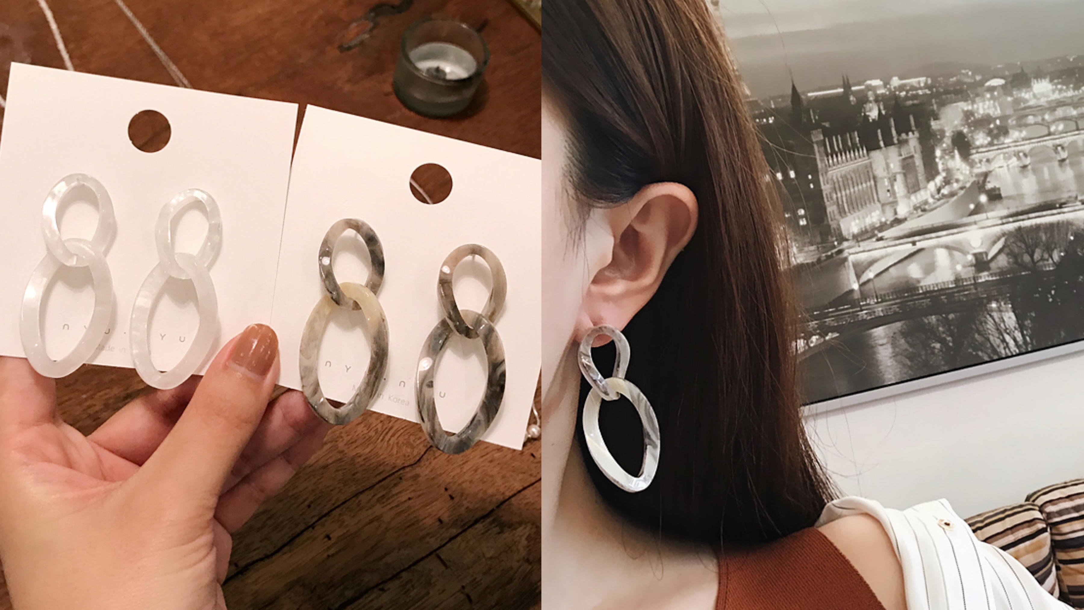 圓形幾何耳環