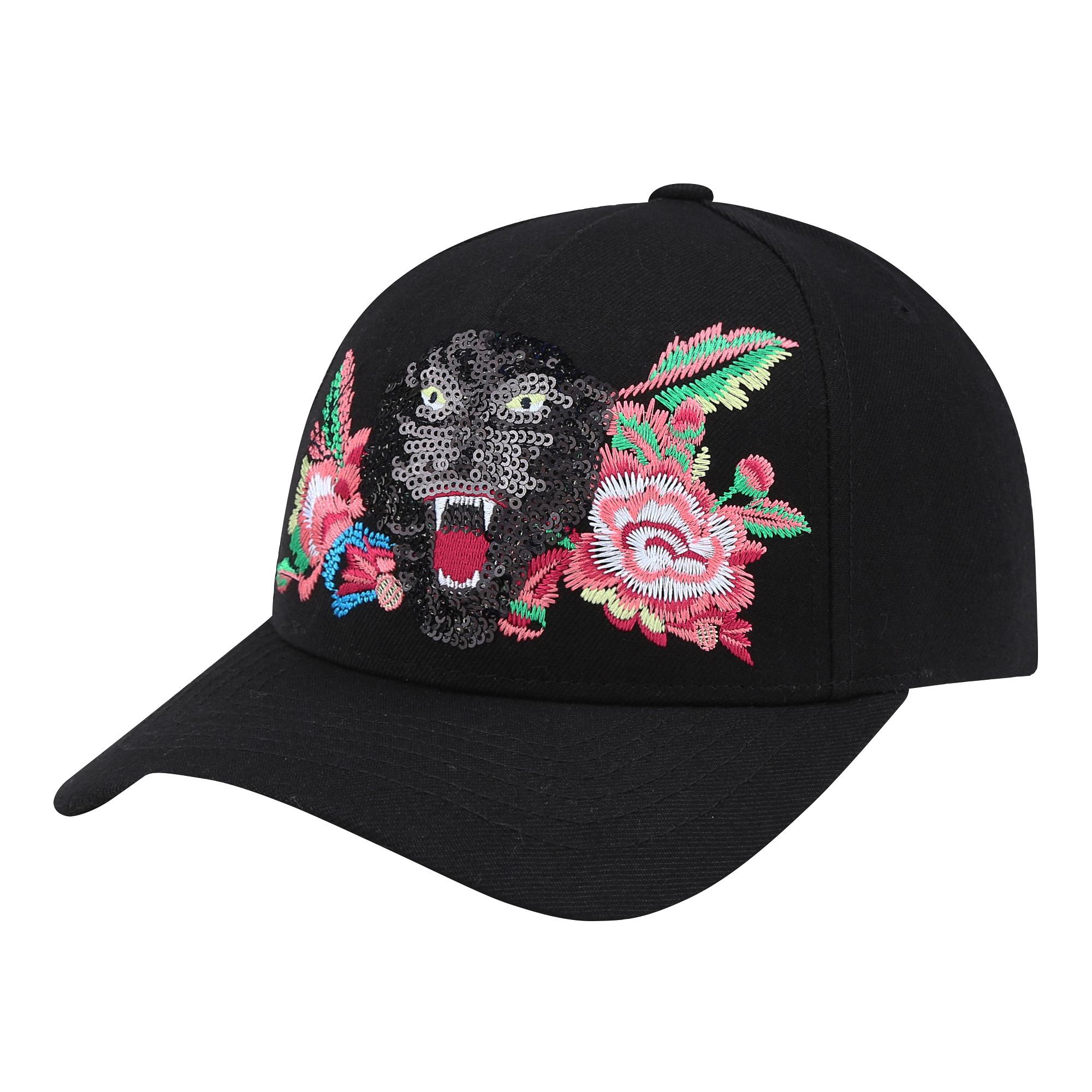 金剛黑亮片黑豹暨八色絲線牡丹刺繡MLB道奇帽 定價$1,490