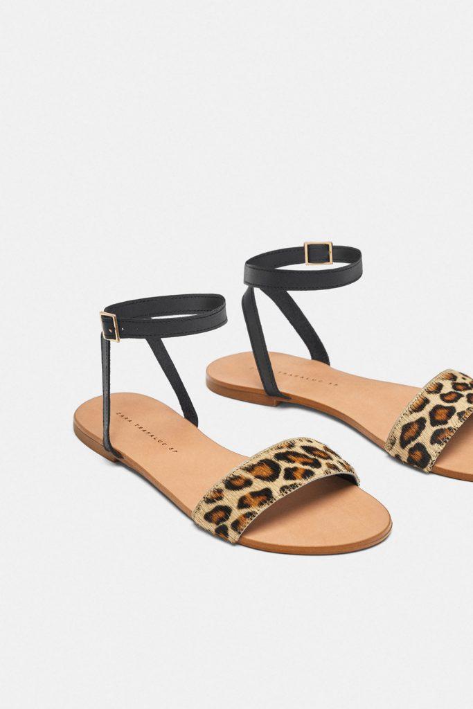豹紋絆帶真皮平底涼鞋