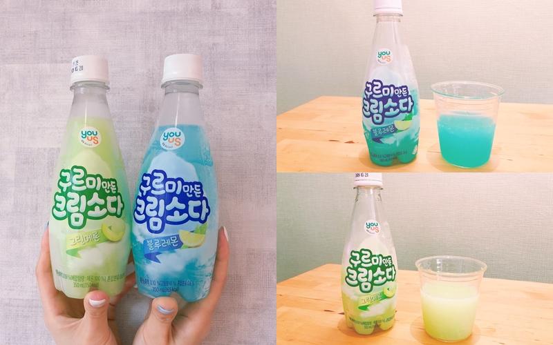 韓國YOUUS哈密瓜汽水、藍雲朵檸檬汽水 各NT.49
