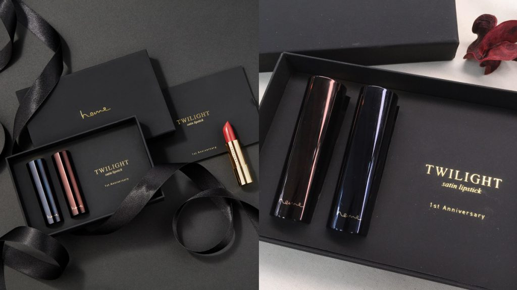 heme特別訂製的「經典緞光唇膏」限量紀念禮盒 ,霧黑質感襯托緞光唇膏的高雅
