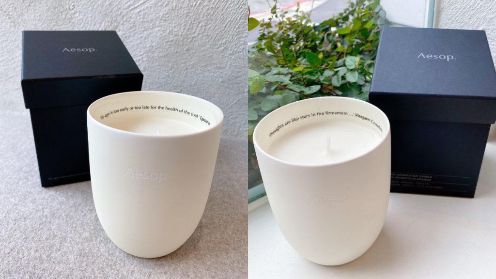 托勒密香氛蠟燭(左)、 阿加尼斯香氛蠟燭(右)