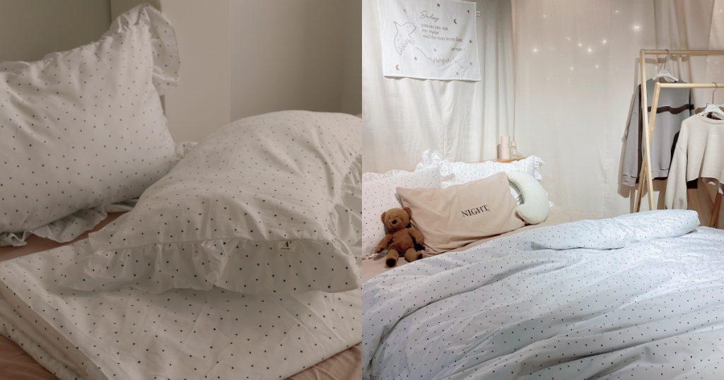 A'ROOM浪漫點點荷葉枕套被套三件組(雙人)/NT$2590