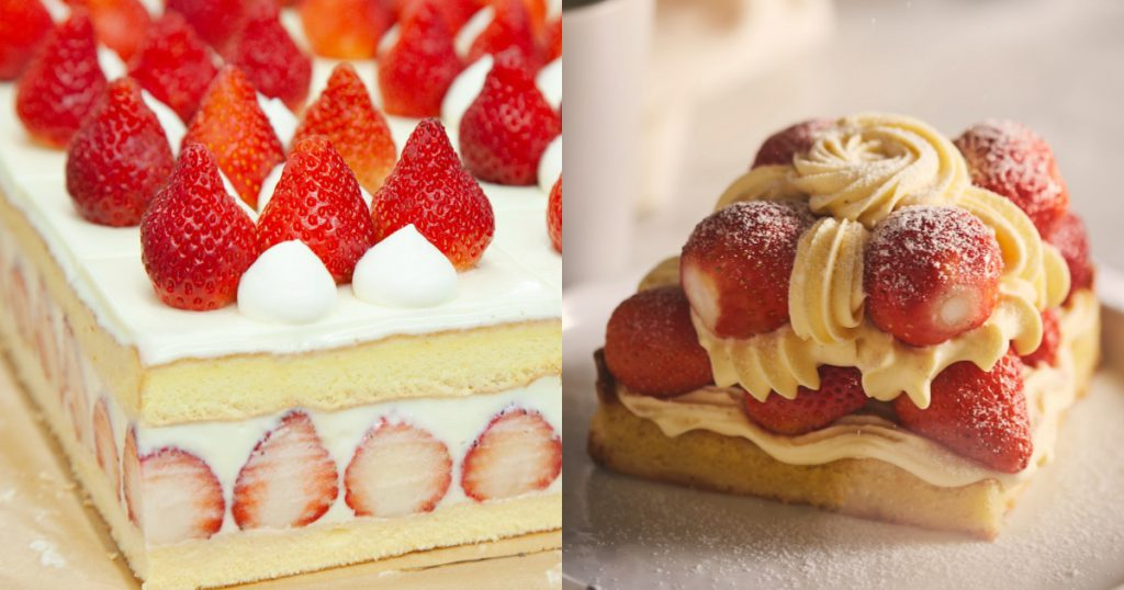 草莓白巧香緹蛋糕(單份)NT$300、卡士達草莓塔NT$600