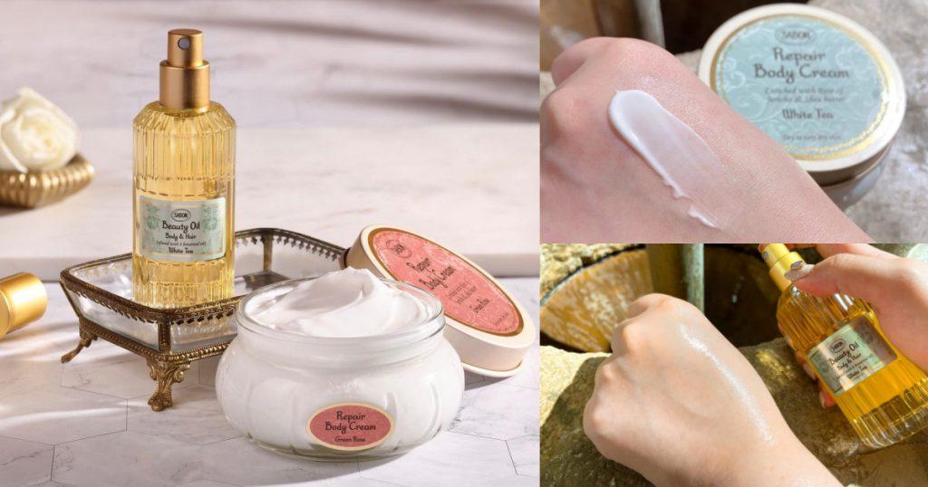SABON保濕光萃油 100ml/$1,580 SABON身體保濕潤膚霜 200ml/$1,580