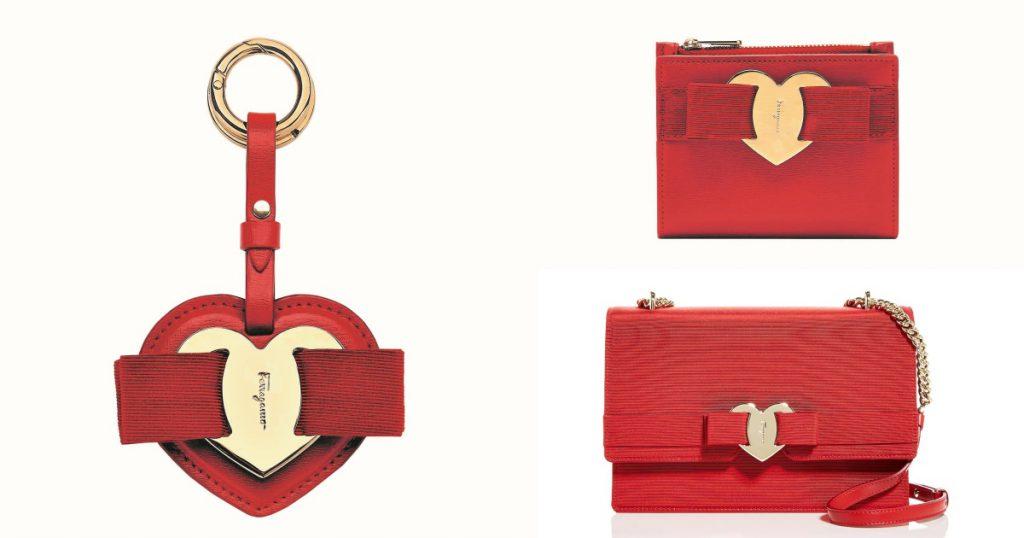 VARA紅色布面鍊帶包/NT$55,900 VARA紅色小牛皮短夾/NT$19,900 VARA紅色小牛皮愛心鑰匙圈/NT$9,900
