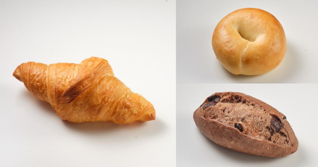 原味可頌、 原味貝果、 法式巧克力牛奶麵包/NT$35