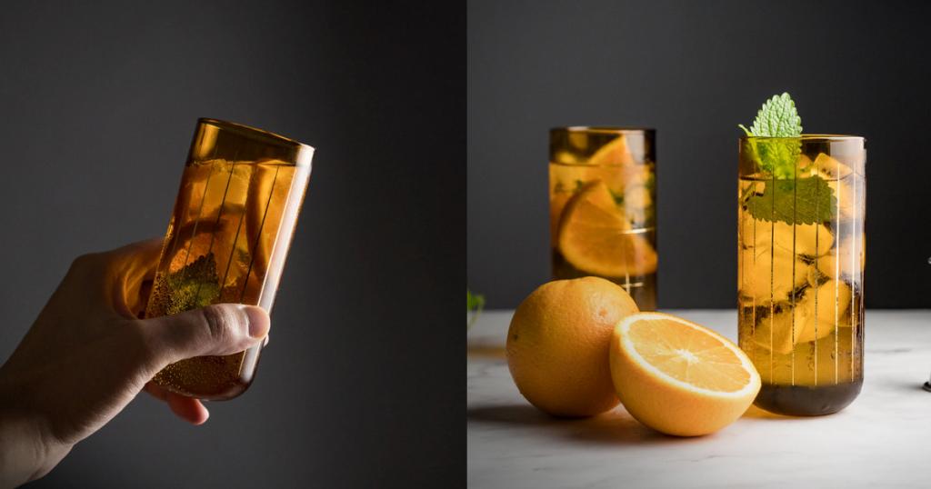 直紋金箔玻璃香檳酒杯
