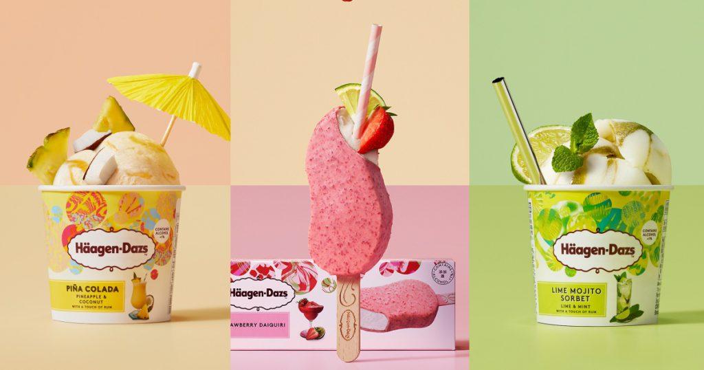 鳳梨可樂達調酒冰淇淋、萊姆莫希朵調酒雪酪