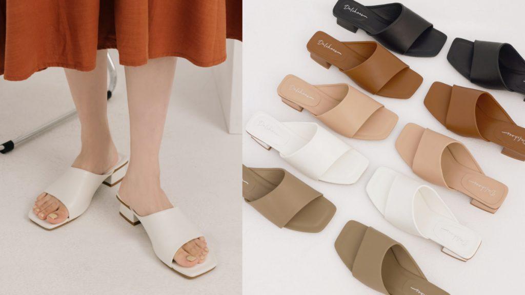 愜意寬版.斜切設計方頭低跟拖鞋