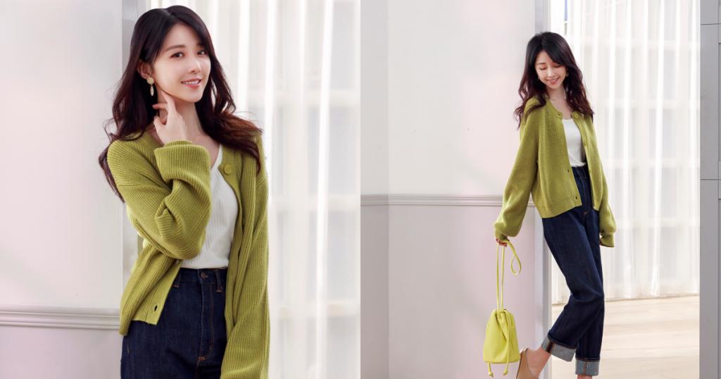 好感針織外套 綠